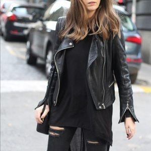 Zara Basic Vegan Faux Leather Moto Jacket black